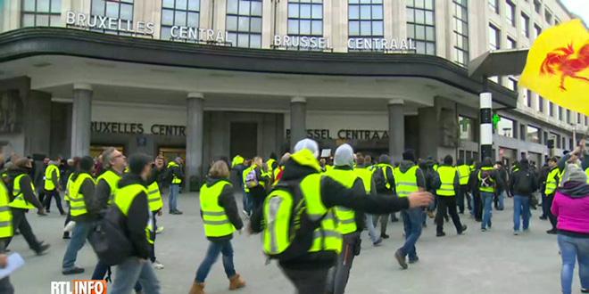 Les gilets jaunes manifestent à Bruxelles