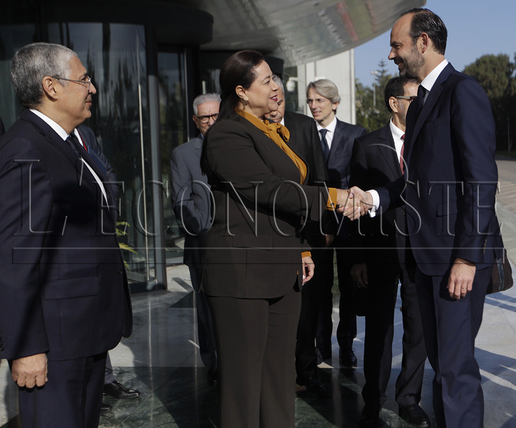 Mohamed el-Kettani, Miriem Bensaleh-Chaqroun et Edouard Philippe