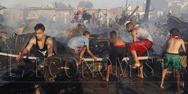 DIAPO - Un incendie ravage un marché à Salé