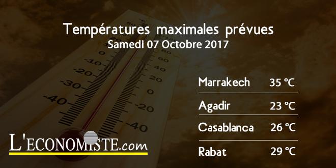 Températures maximales pour la journée du Samedi 07 Octobre 2017