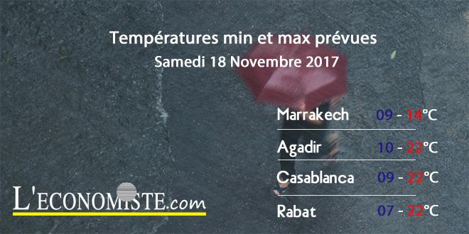 Températures minimales et maximales pour le Samedi 18 Novembre 2017