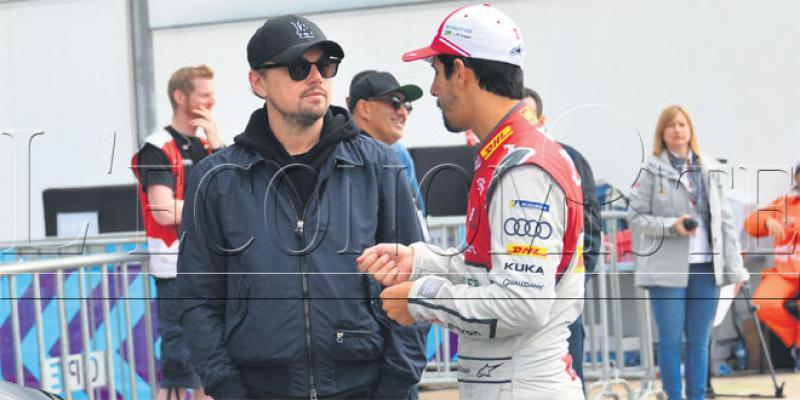 Marrakech e-Prix Rosenqvist sur le podium et DiCaprio au paddock