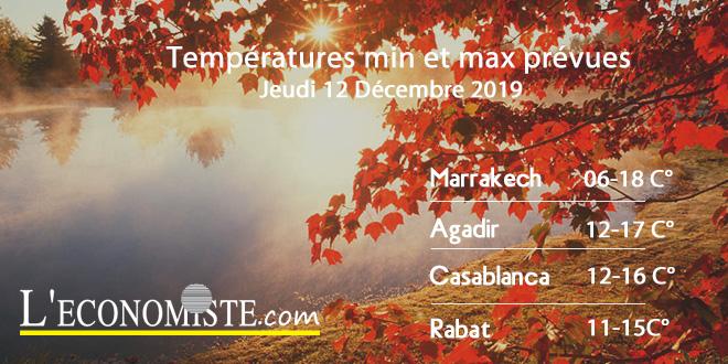 Températures min et max prévues - Jeudi 12 Décembre 2019