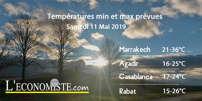 Températures mix et max prévues - Samedi 11 Mai 2019