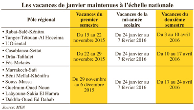 calendrier vacances marocaines